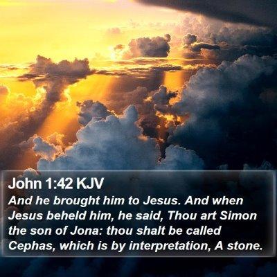 John 1:42 KJV Bible Verse Image
