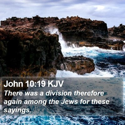John 10:19 KJV Bible Verse Image