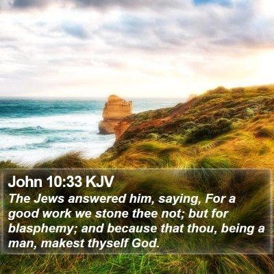 John 10:33 KJV Bible Verse Image