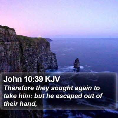 John 10:39 KJV Bible Verse Image