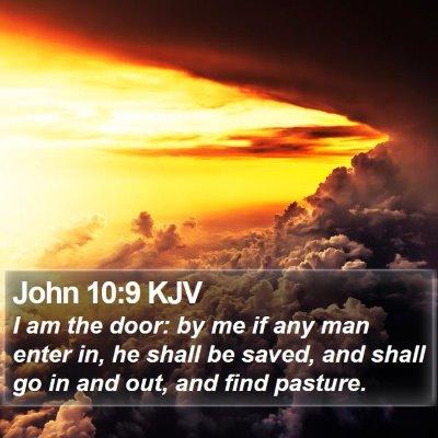 John 10:9 KJV Bible Verse Image