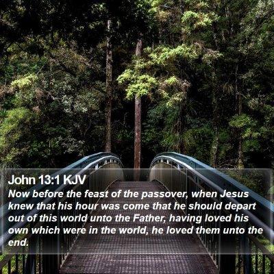 John 13:1 KJV Bible Verse Image