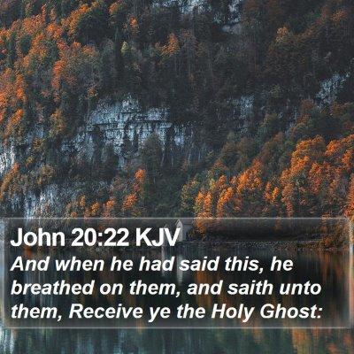 John 20:22 KJV Bible Verse Image