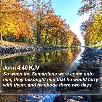 John 4:40 KJV Bible Verse Image