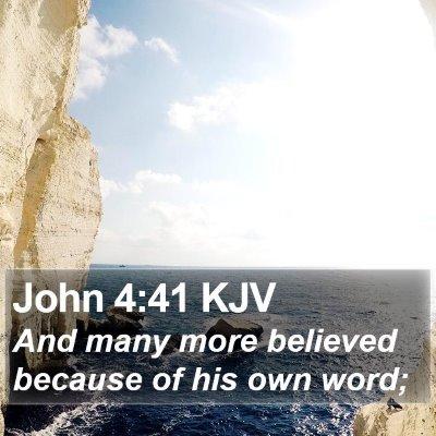 John 4:41 KJV Bible Verse Image