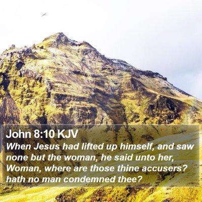 John 8:10 KJV Bible Verse Image