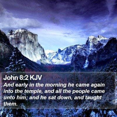 John 8:2 KJV Bible Verse Image