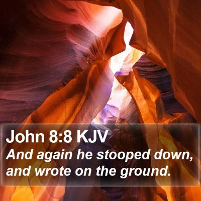 John 8:8 KJV Bible Verse Image