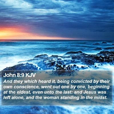 John 8:9 KJV Bible Verse Image