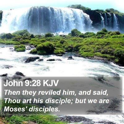 John 9:28 KJV Bible Verse Image