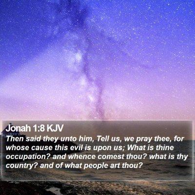 Jonah 1:8 KJV Bible Verse Image