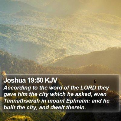 Joshua 19:50 KJV Bible Verse Image