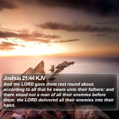 Joshua 21:44 KJV Bible Verse Image