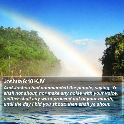 Joshua 6:10 KJV Bible Verse Image
