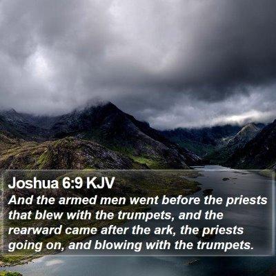 Joshua 6:9 KJV Bible Verse Image