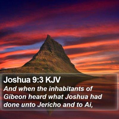 Joshua 9:3 KJV Bible Verse Image