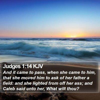 Judges 1:14 KJV Bible Verse Image