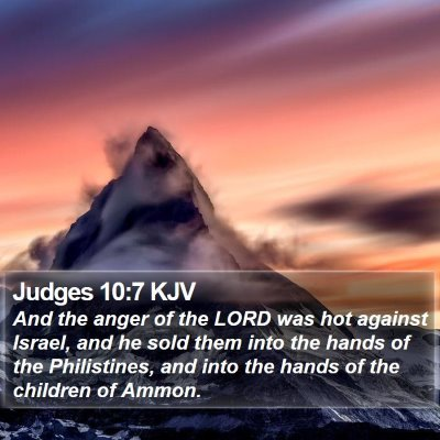 Judges 10:7 KJV Bible Verse Image