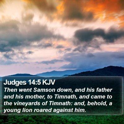 Judges 14:5 KJV Bible Verse Image