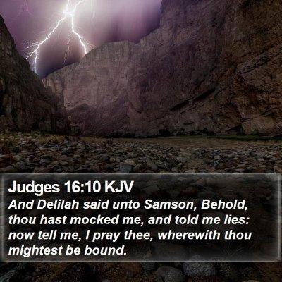 Judges 16:10 KJV Bible Verse Image