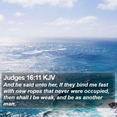 Judges 16:11 KJV Bible Verse Image
