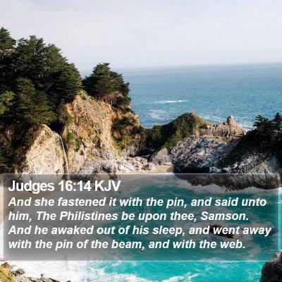Judges 16:14 KJV Bible Verse Image