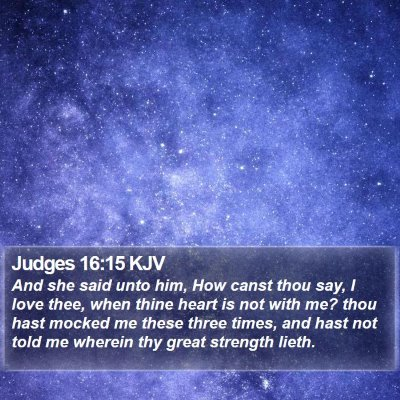 Judges 16:15 KJV Bible Verse Image