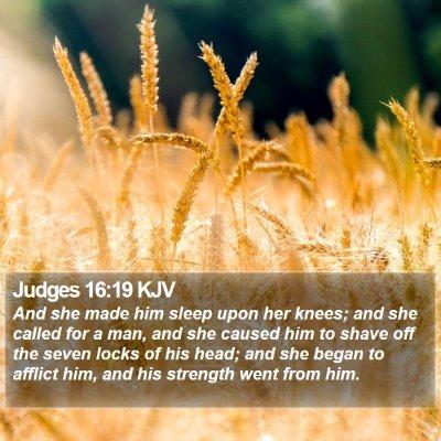 Judges 16:19 KJV Bible Verse Image