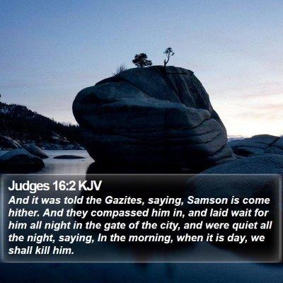 Judges 16:2 KJV Bible Verse Image