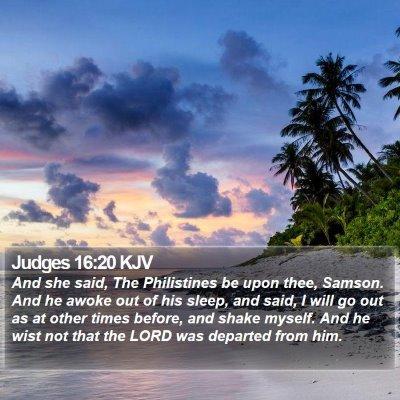 Judges 16:20 KJV Bible Verse Image