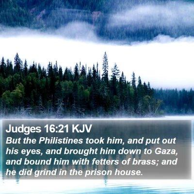 Judges 16:21 KJV Bible Verse Image