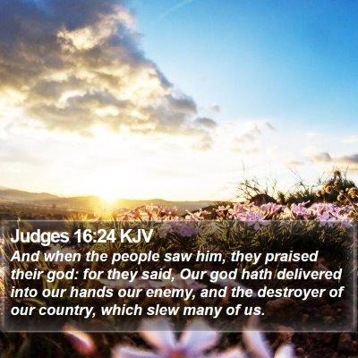 Judges 16:24 KJV Bible Verse Image