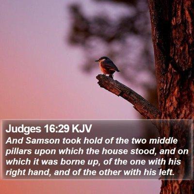 Judges 16:29 KJV Bible Verse Image