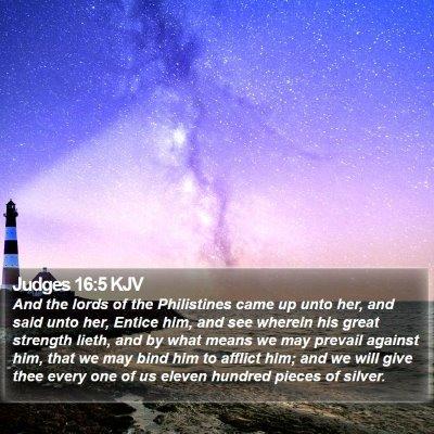 Judges 16:5 KJV Bible Verse Image