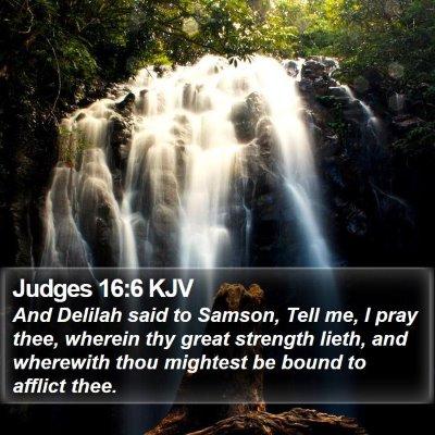Judges 16:6 KJV Bible Verse Image
