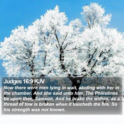 Judges 16:9 KJV Bible Verse Image