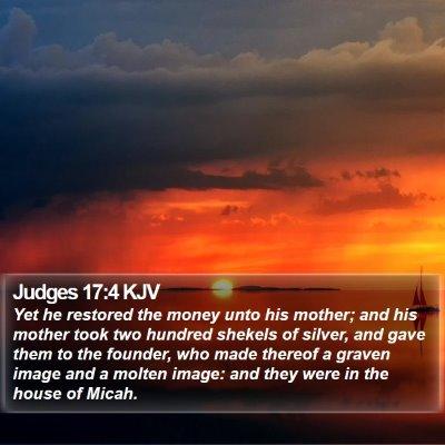 Judges 17:4 KJV Bible Verse Image