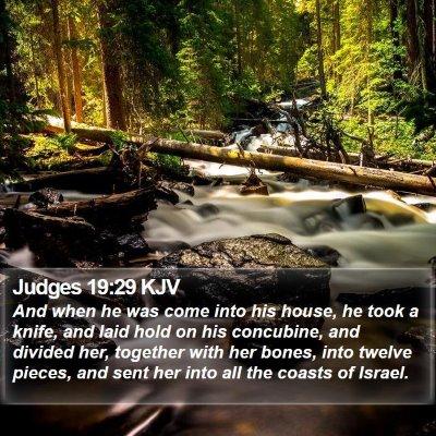 Judges 19:29 KJV Bible Verse Image