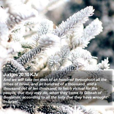 Judges 20:10 KJV Bible Verse Image