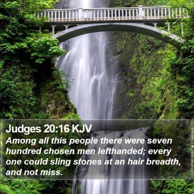 Judges 20:16 KJV Bible Verse Image