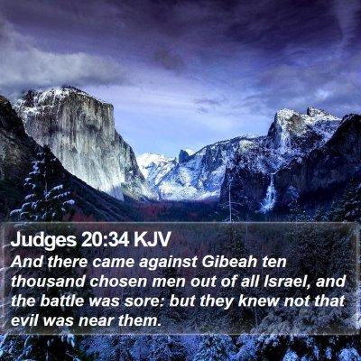 Judges 20:34 KJV Bible Verse Image