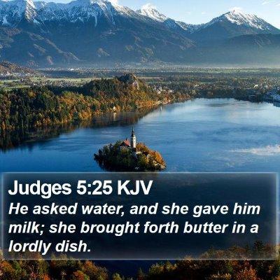 Judges 5:25 KJV Bible Verse Image