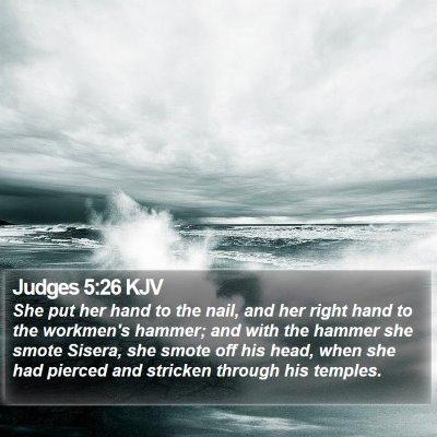 Judges 5:26 KJV Bible Verse Image