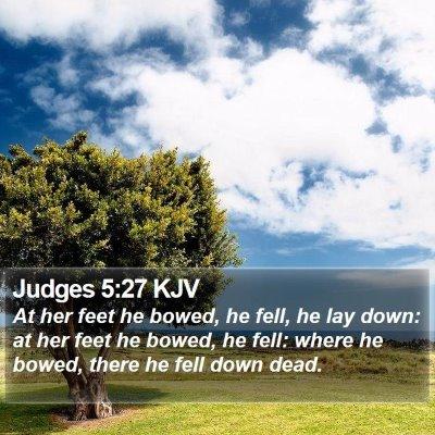 Judges 5:27 KJV Bible Verse Image