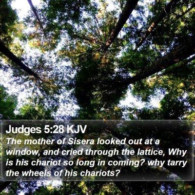Judges 5:28 KJV Bible Verse Image