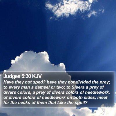 Judges 5:30 KJV Bible Verse Image