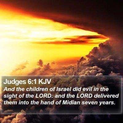 Judges 6:1 KJV Bible Verse Image