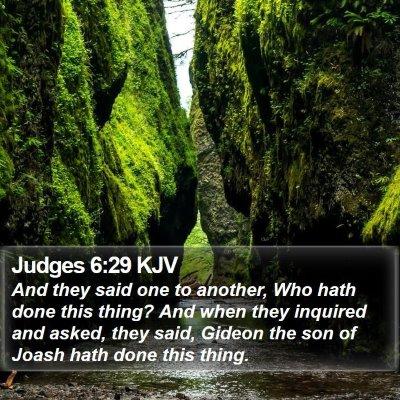 Judges 6:29 KJV Bible Verse Image
