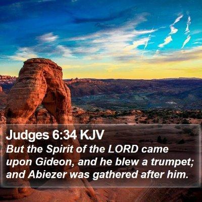 Judges 6:34 KJV Bible Verse Image
