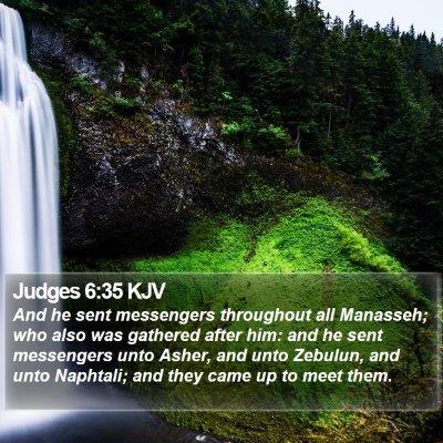 Judges 6:35 KJV Bible Verse Image
